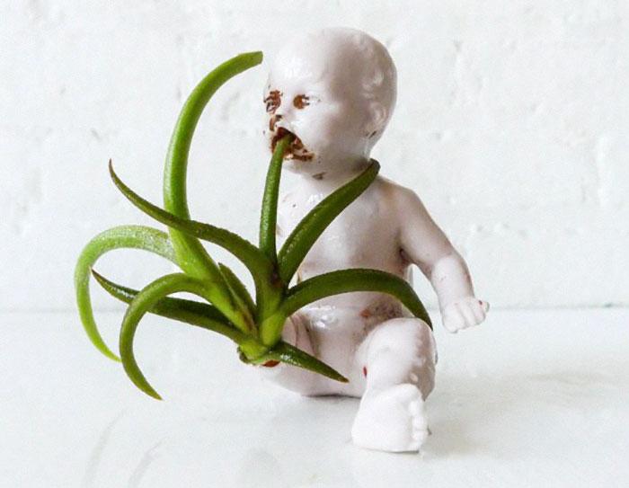 Bizarr kaspók játékbabákból