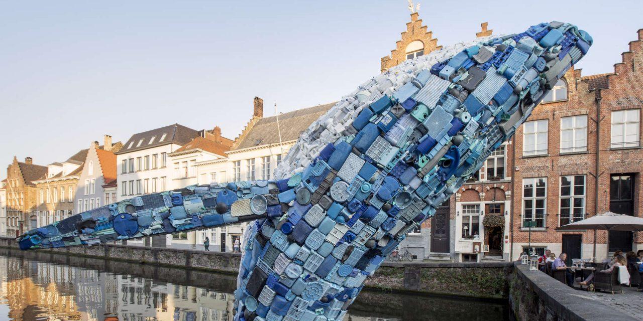 Öt tonnányi műanyag szemétből épült az óriási bálna
