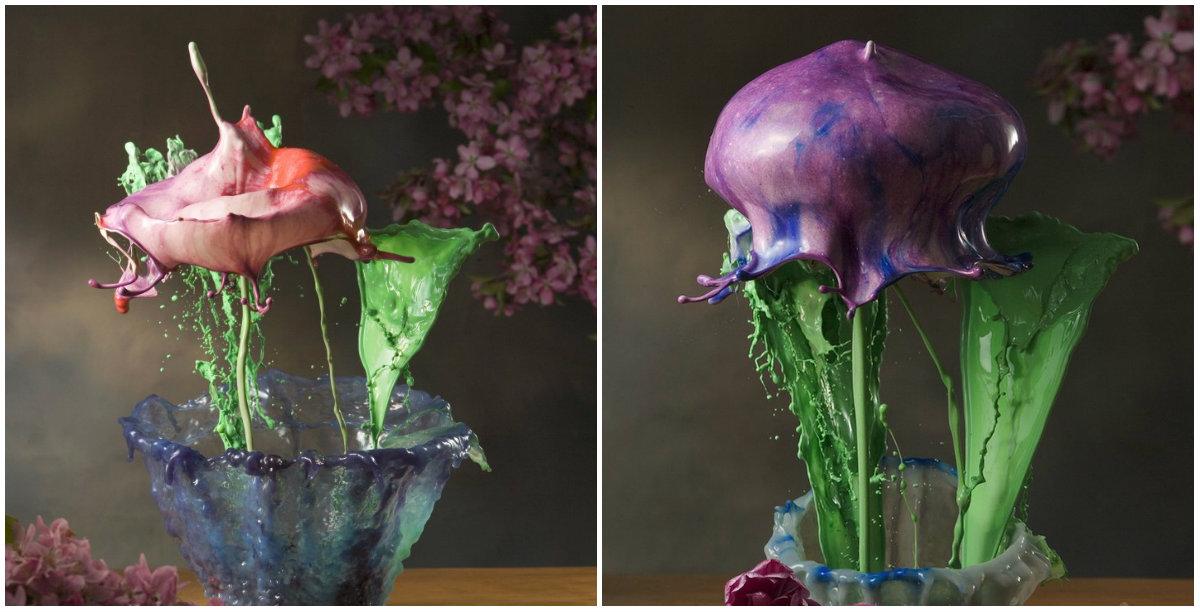 Festékek fröccsenéséből készültek ezek a színes virágok